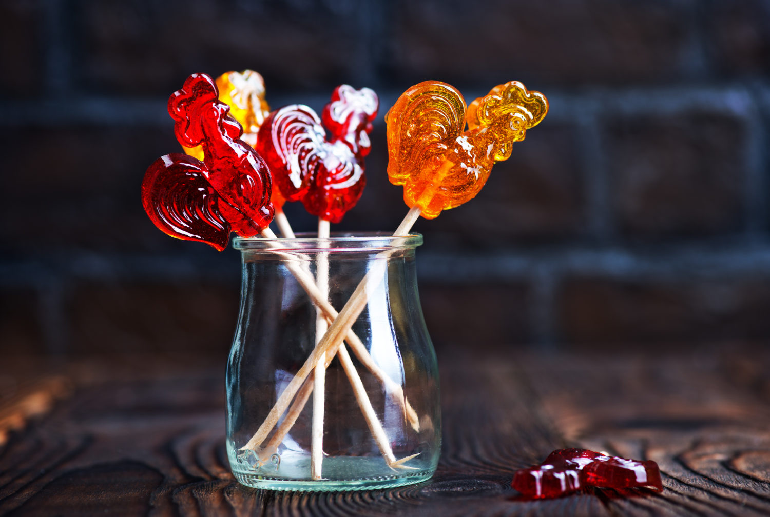 Candy roosters in a jar