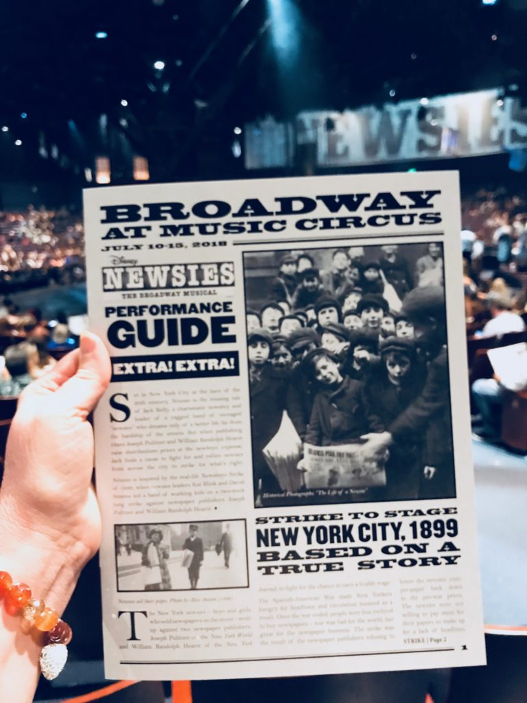 Play bill for the Broadway Sacramento at Music Circus Newsies 2018
