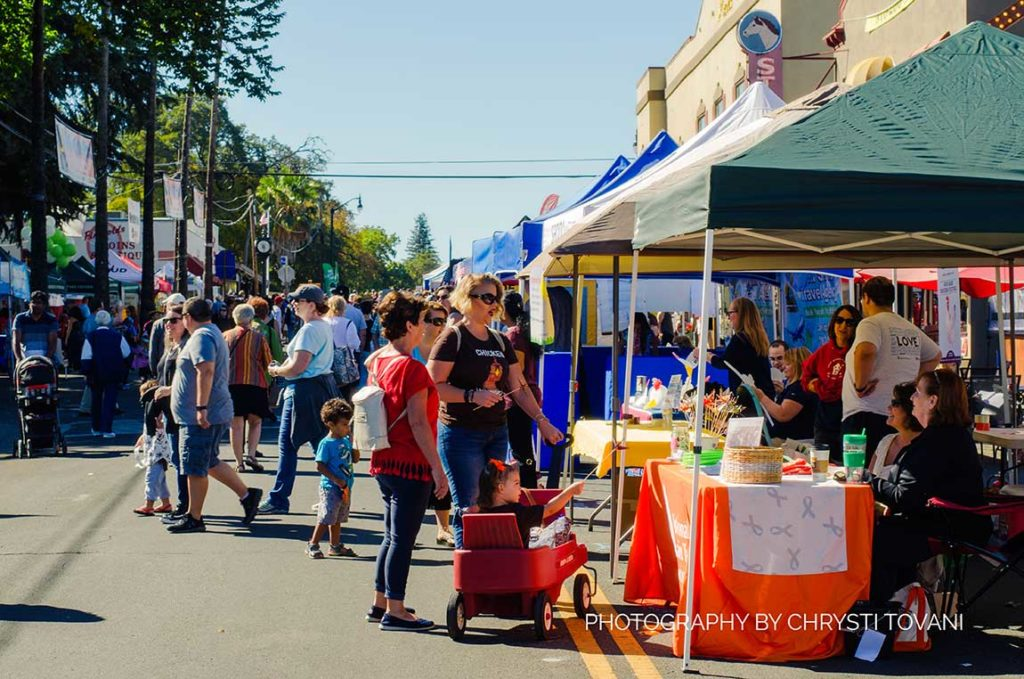 people enjoying the chicken festival in fair oaks california 2018