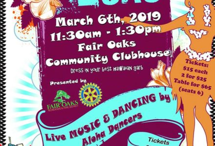 fair oaks community center clubhouse senior luau flyer